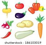set of cartoon image vegetables | Shutterstock . vector #186103019