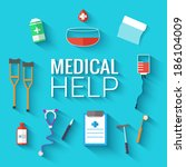 medical flat icons set background. Vector illustration