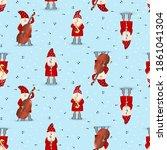 Seamless Pattern Musician Santa ...