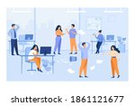 lazy employees making mess and... | Shutterstock .eps vector #1861121677
