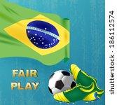 brazil flag and map   vector... | Shutterstock .eps vector #186112574