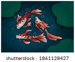 Three Swimming Koi Fish. Vector ...