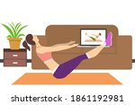 stay at home concept. the girl...   Shutterstock .eps vector #1861192981