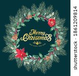christmas wreath created in... | Shutterstock . vector #1861209814