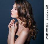 beauty model girl with long...   Shutterstock . vector #186122135