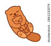 cute cartoon otter mom hugging... | Shutterstock .eps vector #1861232074