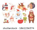 new year characters with elf ...   Shutterstock .eps vector #1861236574