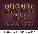 bronze alphabet font. beveled... | Shutterstock .eps vector #1861257367