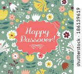 jewish passover holiday... | Shutterstock .eps vector #186139619