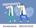 tiny doctors carrying a huge... | Shutterstock .eps vector #1861415104