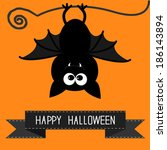 cute bat and black ribbon....   Shutterstock .eps vector #186143894