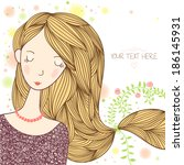 young beautiful girl with long... | Shutterstock .eps vector #186145931