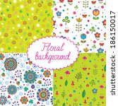 set of seamless floral pattern   Shutterstock .eps vector #186150017