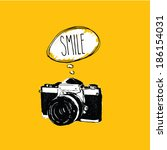 vintage photo camera says ... | Shutterstock .eps vector #186154031