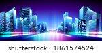 vector neon metropolis night...   Shutterstock .eps vector #1861574524
