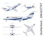 private jet in different point...   Shutterstock .eps vector #1861627747