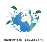 save the planet ecology concept.... | Shutterstock .eps vector #1861668574