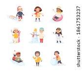 children enjoying winter fun...   Shutterstock .eps vector #1861753237