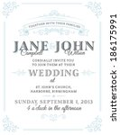 vintage wedding invitation | Shutterstock .eps vector #186175991
