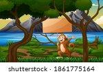 cartoon monkey holding wooden... | Shutterstock . vector #1861775164