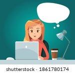 vector girl freelancer siting... | Shutterstock .eps vector #1861780174