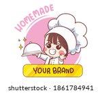 smiling happy female chef logo...   Shutterstock .eps vector #1861784941
