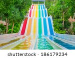 Colorful Waterslides In Water...
