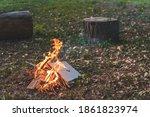 Autumn Camp Fire During Sunset. ...