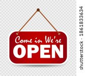 red come in we are open sign.... | Shutterstock .eps vector #1861833634