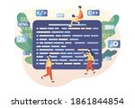 tiny people programmer or...   Shutterstock .eps vector #1861844854