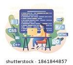 tiny girl programmer or...   Shutterstock .eps vector #1861844857
