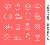 health and fitness icons on red | Shutterstock .eps vector #186185351