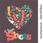 shoes background. | Shutterstock .eps vector #186185861