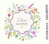 cute greeting card with flowers ... | Shutterstock .eps vector #186188945