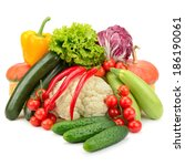 fresh vegetables isolated on... | Shutterstock . vector #186190061