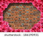 frame from red roses and... | Shutterstock . vector #186190931