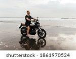 Close Up Portrait Of Biker At...