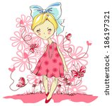 vector cute little girl with a... | Shutterstock .eps vector #186197321