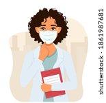 female doctor in a medical mask.... | Shutterstock .eps vector #1861987681