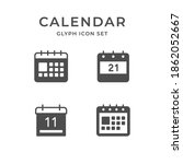set glyph icons of calendar | Shutterstock .eps vector #1862052667