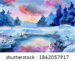 Winter lake sunset sky and snow-covered pine trees in the background.Watercolor landscape for Christmas cards, travel brochures, website