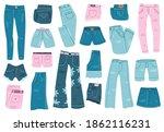 jeans clothes. denim trousers ... | Shutterstock .eps vector #1862116231