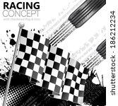 racing concept   flags  tires... | Shutterstock .eps vector #186212234