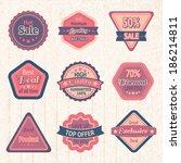 vintage sale labels and badges... | Shutterstock . vector #186214811