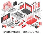 isometric conference hall...   Shutterstock .eps vector #1862172751