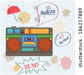 musical background with retro... | Shutterstock .eps vector #186217889