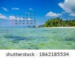 Calendar July 2021. Sea  Ocean  ...