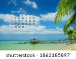 Calendar March 2021. Sea  Ocean ...