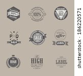 set retro vintage ribbons and... | Shutterstock .eps vector #186220571