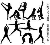 set silhouette girl on yoga... | Shutterstock . vector #1862207254